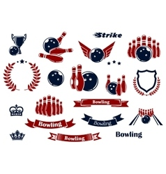 Bowling sport items and design elements vector image vector image