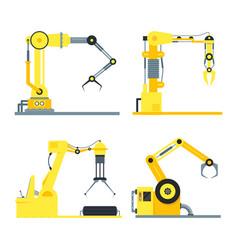 cartoon industrial technology robotic arm set vector image vector image