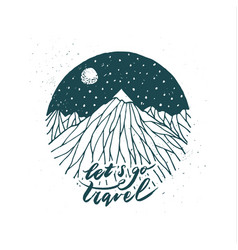 hand drawn mountain vector image