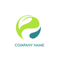 leaf round environment logo vector image vector image