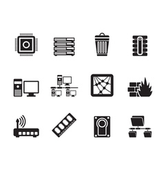 Silhouette Computer and website icons vector image vector image
