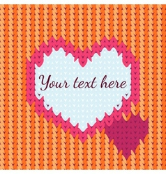 background with knitted heart vector image