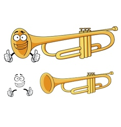 Cartoon happy classic brass trumpet character vector image
