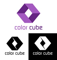 Color cube logo template vector image vector image