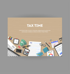 horizontal banner with icons paying taxes vector image
