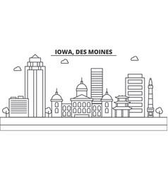 Iowa des moines architecture line skyline vector