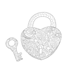 Lock and key coloring book for adults vector