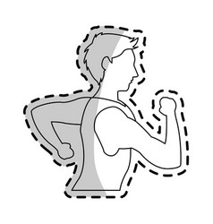 Running man sport or health icon image vector