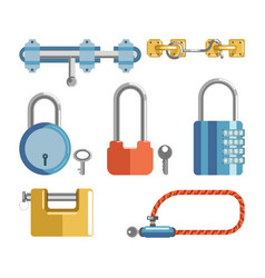 solid locks and latches isolated cartoon vector image