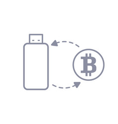 bitcoin flash drive sync and storage line style vector image