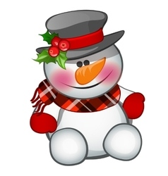Cute snowman sits isolated character vector image