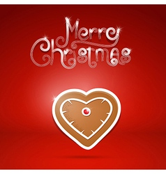 gingerbread heart and Merry Christmas title on red vector image vector image