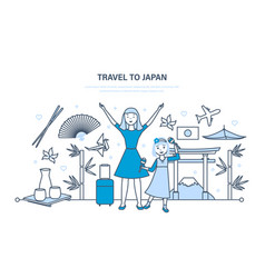 mum with daughter travel to japan vector image vector image