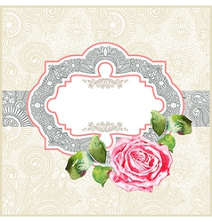 ornate floral pattern with watercolor rose vector image vector image