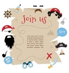 Pirate party invitation card design vector