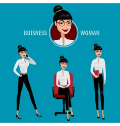 Set of business woman vector image