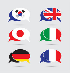 speech bubble set with flag in format vector image vector image
