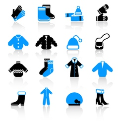 winter clothes icons vector image