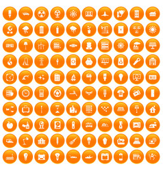 100 electricity icons set orange vector