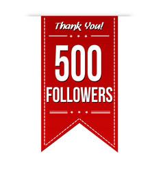 500 followers social media banner celebration vector