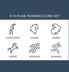 6 running icons vector