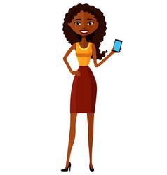 African american woman with mobile phone vector