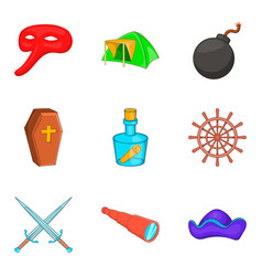 archaeology icons set cartoon style vector image