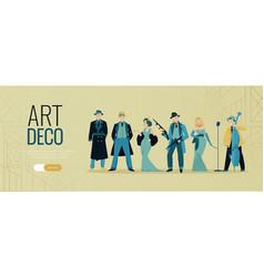 Art deco people banner vector