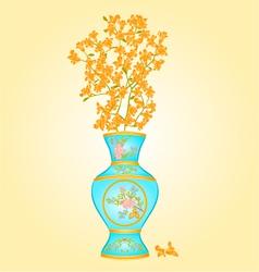 Azure vase with spring flowers forsythia vector