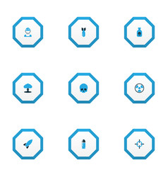 battle icons colored set with shot boom cranium vector image