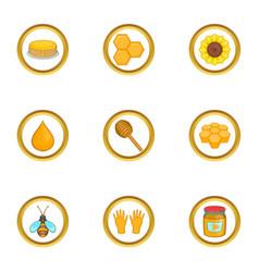 Beekeeper icons set cartoon style vector