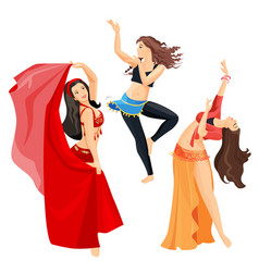 Belly dancers set girls isolated on white vector