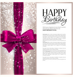 Birthday card with pink ribbon and vector