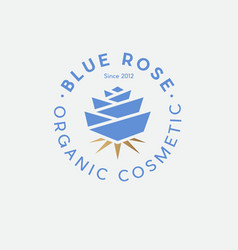 Blue rose organic cosmetic logo spa gold leaves vector