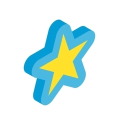 Blue star icon isometric 3d style vector