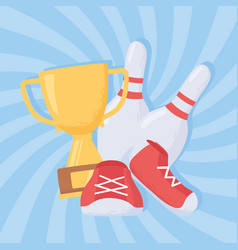 Bowling pins shoes and trophy game recreational vector