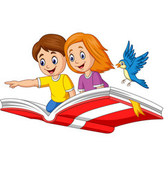 boy and girl flying on a book vector image