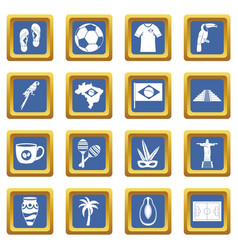 brazil travel symbols icons set blue vector image