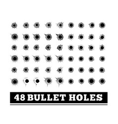 Bullet holes on white vector