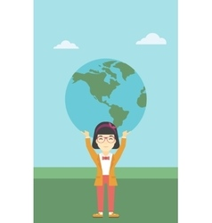 Business woman holding Earth globe vector