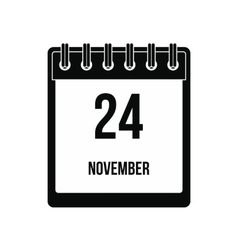 Calendar november 24 icon vector image
