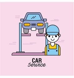 Car service vehicle alignment auto technician vector