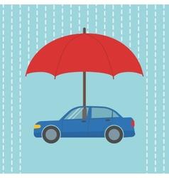 Car under umbrella vector