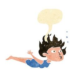 Cartoon woman swimming underwater with speech vector