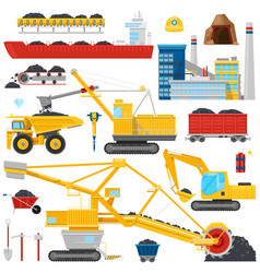 coal mining industrial equipment or vector image