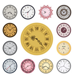 Colorful clock faces vintage modern parts index vector