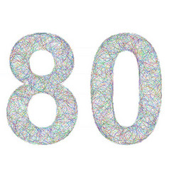 Colorful sketch anniversary design - number 80 vector