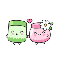 couple of cute cream jars vector image