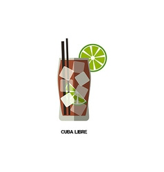 Cuba libre cocktail modern flat design isolated vector