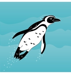 Cute cartoon african penguin swimming in the sea vector